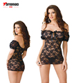 Mulheres Erotic Lingerie Vestido Pijamas Com G-corda Lingerie Sexy Traje transparente Rendas Sexy Sleepwear