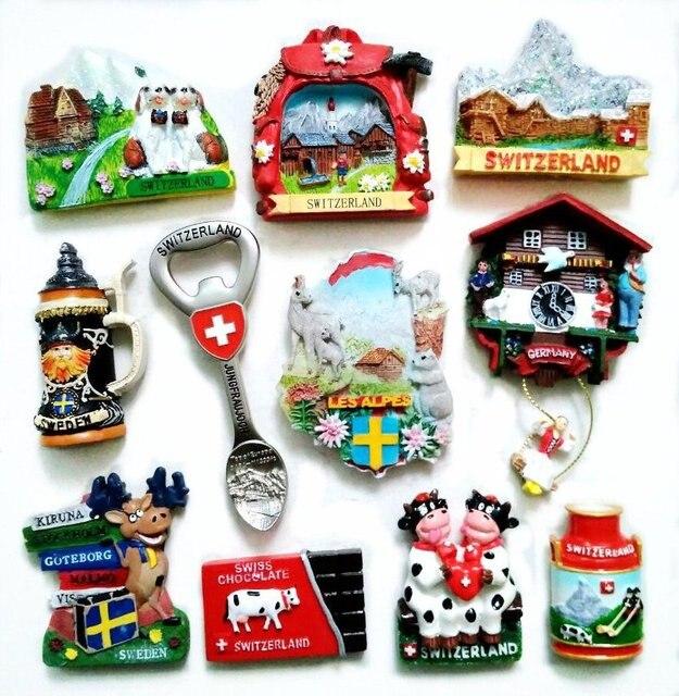 Suiza nieve montaña ciervo 3D nevera Imanes turismo recuerdos refrigerador pegatinas magnéticas decoración del hogar