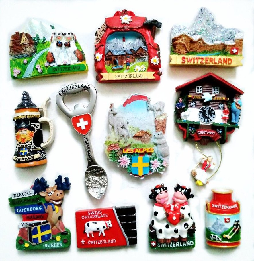 Switzerland Snow Mountain Deer 3D Fridge Magnets Tourism Souvenirs Refrigerator Magnetic Stickers Home Decortion