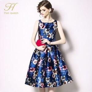Image 5 - H Han Queen vestido de primavera Vintage sin mangas, Jacquard, ajustado, corte en A, cuello redondo, hasta la rodilla, novedad de 2019