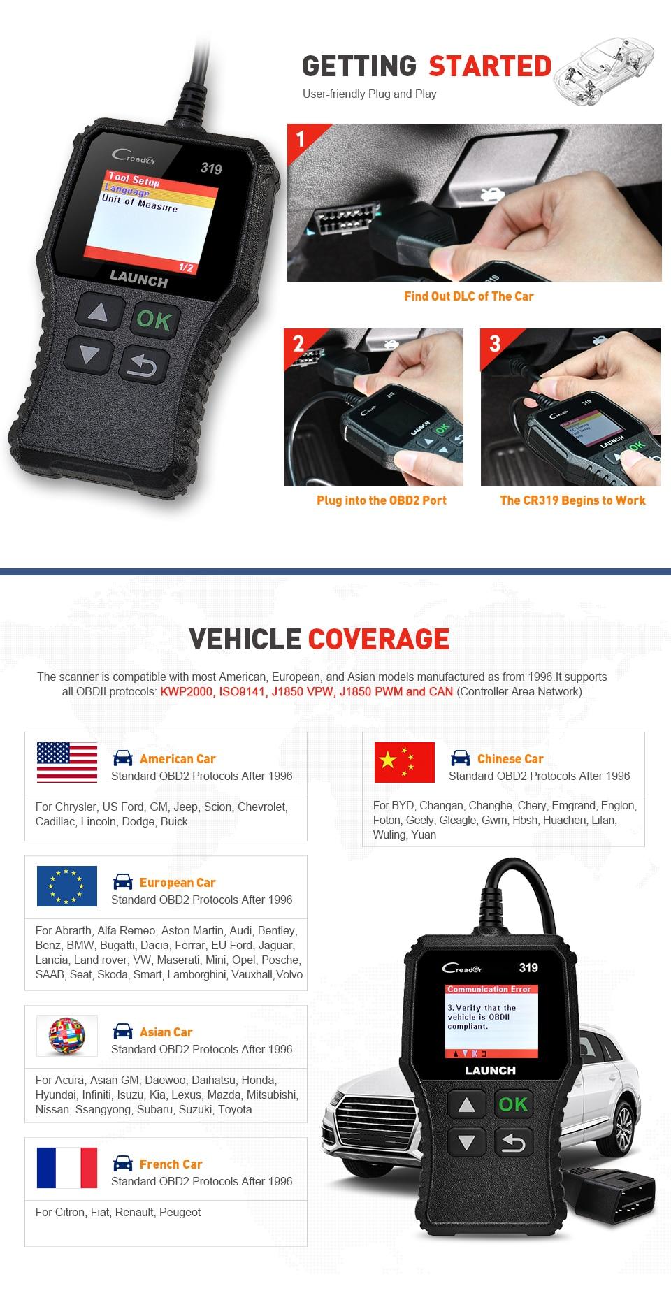 HTB1JDChaZvrK1Rjy0Feq6ATmVXaN Launch X431 Creader 319 CR319 Auto Code Reader Full OBDII EOBD Automotive Diagnostic Tool OBD2 Scanner as Creader 6001 CR3001