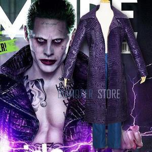 Image 2 - Biamoxer uniforme de Suicide Joker pour hommes, Costumes de Cosplay, Trench Coat veste violette t shirts Clown vert pour fête dhalloween