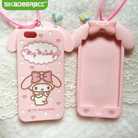 Pink Girl Phone Covers For IPhone 5s 6s 7 Plus SE Cellphones With Lanyard Shockproof Protective