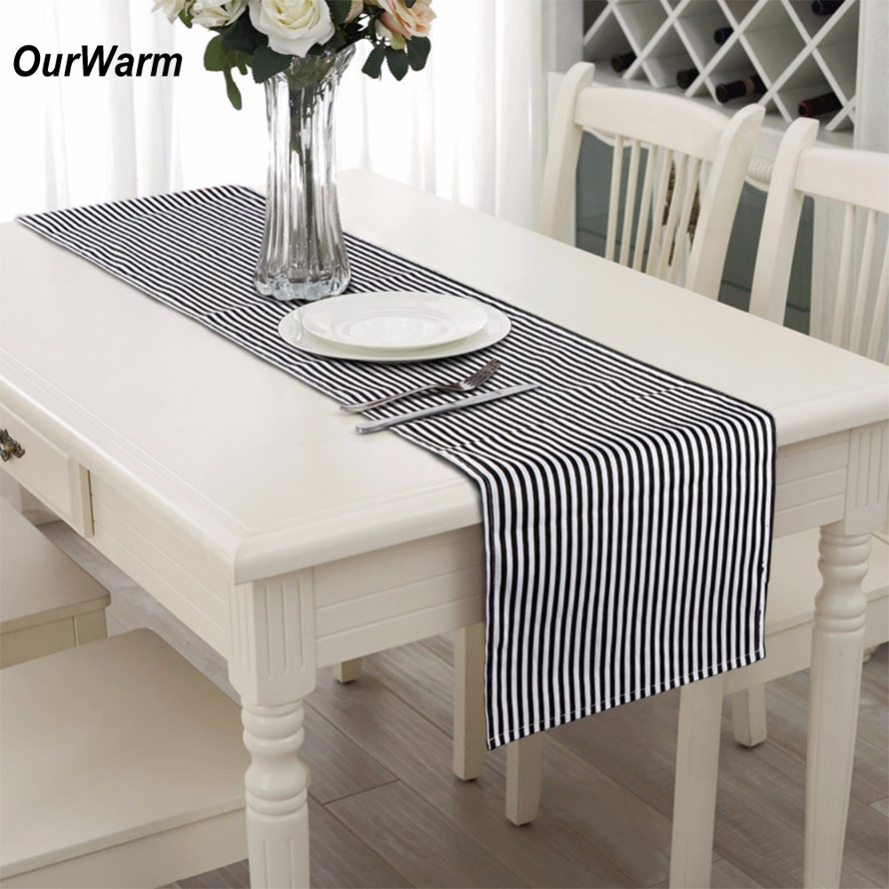 OurWarm 182*35cm Elegant Wedding Table Cloth Black And White Striped  Tablecloth For Valentineu0027s Day Home Dinner Party Decoration In Party DIY  Decorations ...