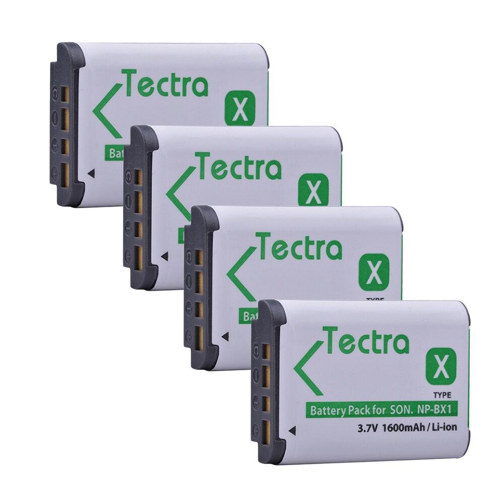 Tectra 4 unids/pack NP-BX1 NPBX1 li-ion Pack para Sony DSC-RX100 RX1 HDR-AS15 AS10 HX300 WX300 NPBX1 NP BX1 BC-CSXB cámaras