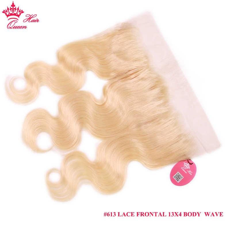 Królowa włosów brazylijski ciało koronkowa fala Frontal 13X4 z dzieckiem ludzki włos naturalną linią włosów blond kolor #613 ucho do ucha Remy włosy