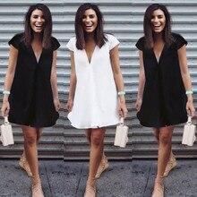 Women Casual Short Sleeve V-Neck Mini Dress 2017 Summer Lady Nigh Wear Loose Sho