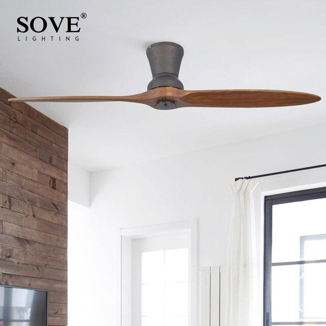 SOVE Black Village Industrial Wooden Ceiling Fan Wood Ceiling Fans Without  Light Decorative Home Fan DC