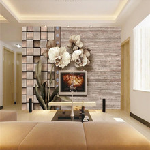 3D Wallpaper Vintage Phalaenopsis Stereo Wood Grain Background Wall Professional Making Mural Photo
