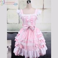 High Quality Pink And White Sleeveless Bow Bandage Sweet Lolita Dress