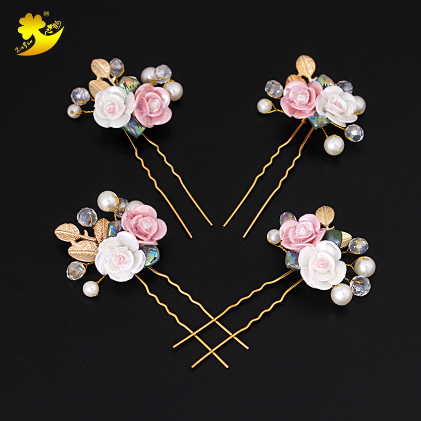Xinyun Wedding Hairpins Bridal Hair Accessories Women Rose Flower Hair Pins Fashion Jewelry Korean Style Pearls Hair Clips