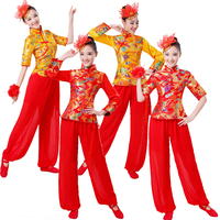 2017 New Yangko Dance Drum Team Clothing Costumes China Style For Women And Men
