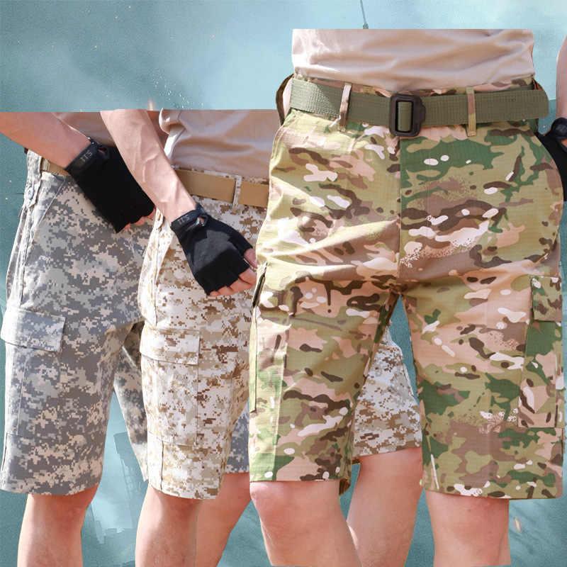 Verano hombres camuflaje holgado Cargo táctico pantalones cortos deportes al aire libre caza Camping escalada entrenamiento hasta la rodilla pantalones cortos