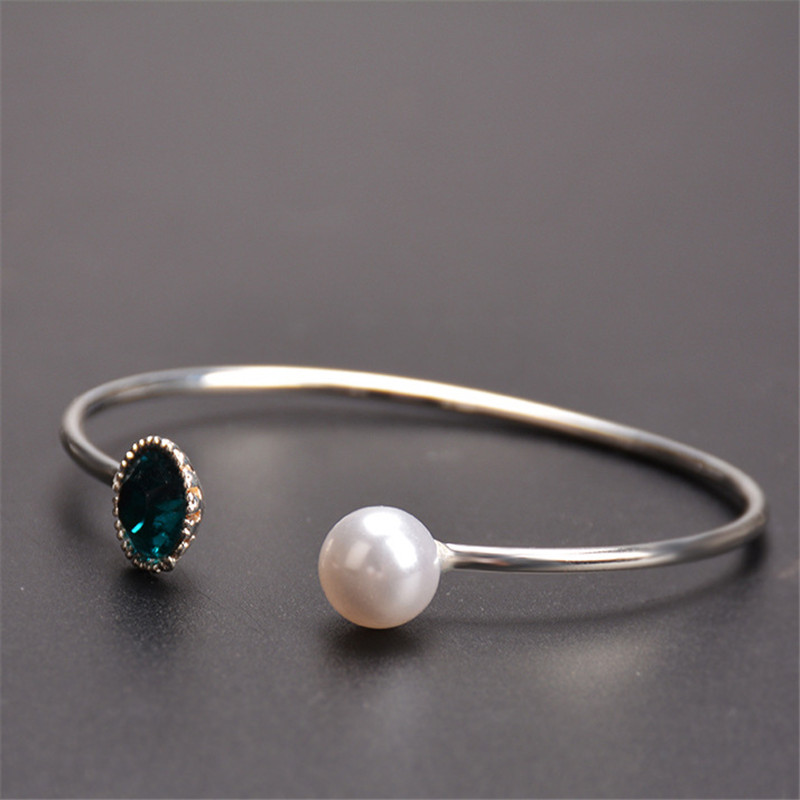Silver Plated Imitation Pearl Open Bangles Women Crystal Cuff Bracelet Cubic Zirconia Rhinestone Charm Jewelry Adjustable in Bangles from Jewelry Accessories