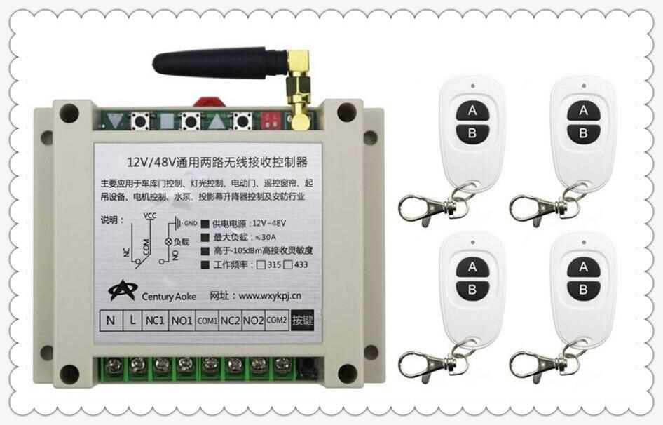 New DC12V 24V 36V 48V 10A 2CH RF Wireless Switch Relay Receiver Remote Controllers & 4* White AB keys Waterproof Transmitter new dc12v 24v 2ch wireless remote