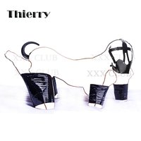 Thierry Puppy Play Fantasy Bondage Kit Dog Tail Butt Plug Harness Hood With Ball Gag Non