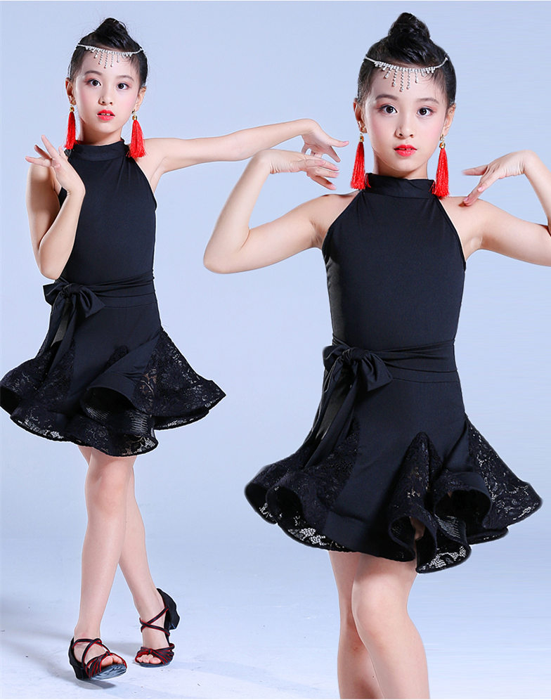 Latin Dance Dress For Girls Ballroom Competition Lace Latin Salsa Dress Kids Girl Rumba Samba Spandex Children 2018 Tango Skirt