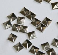 100pc Hotfix Iron On, 7mm Flat Back Silver Pyramid Studs - 1/4 FlatBack Glue on