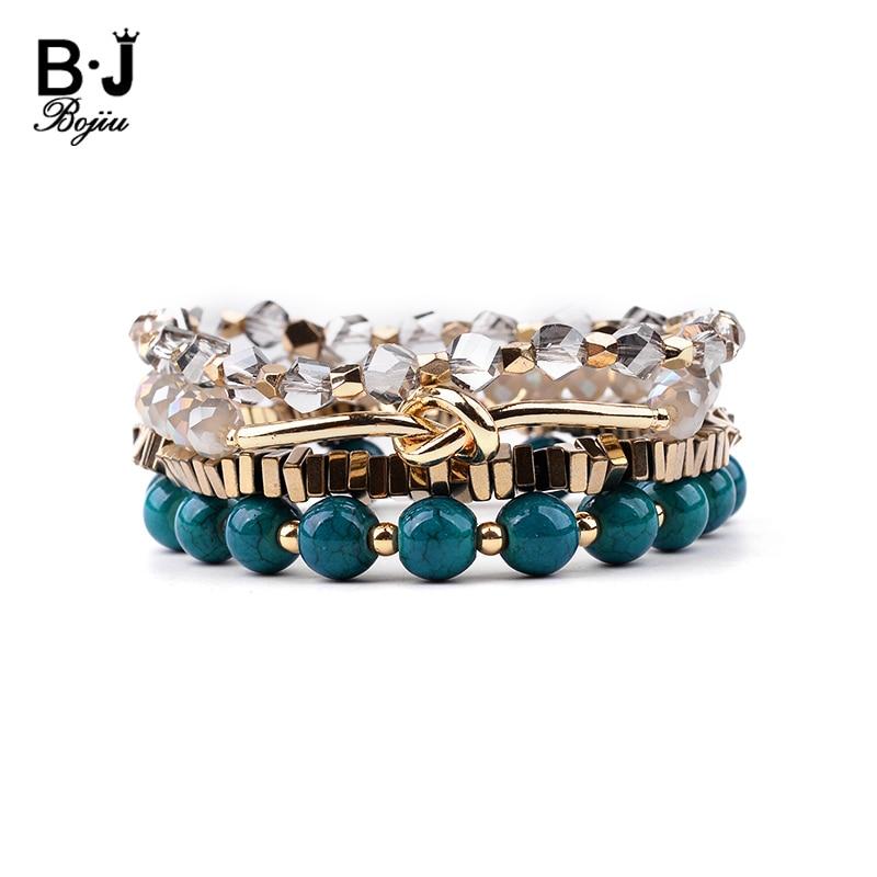 BOJIU 4 Pcs/Set Crystal Tube Beads Bracelets Jewelry Gold Hematite Nugget Natural Calaite Stone Bracelet Lady BCSET156
