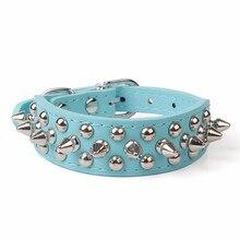 6 colors Adjustable Leather Rivet Spiked Studded for Puppy Dog Collar Bullet design Neck Strap