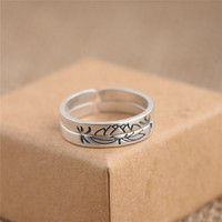 2 Pieces Solid 925 Sterling Silver Lotus Flower Rings For Women Lover Anniversary Gift Retro Jewelry