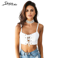 Sexy Lace Up Crop Top Women White Hollow Out Tank Caims Casual Slim Party Nightclub Vest