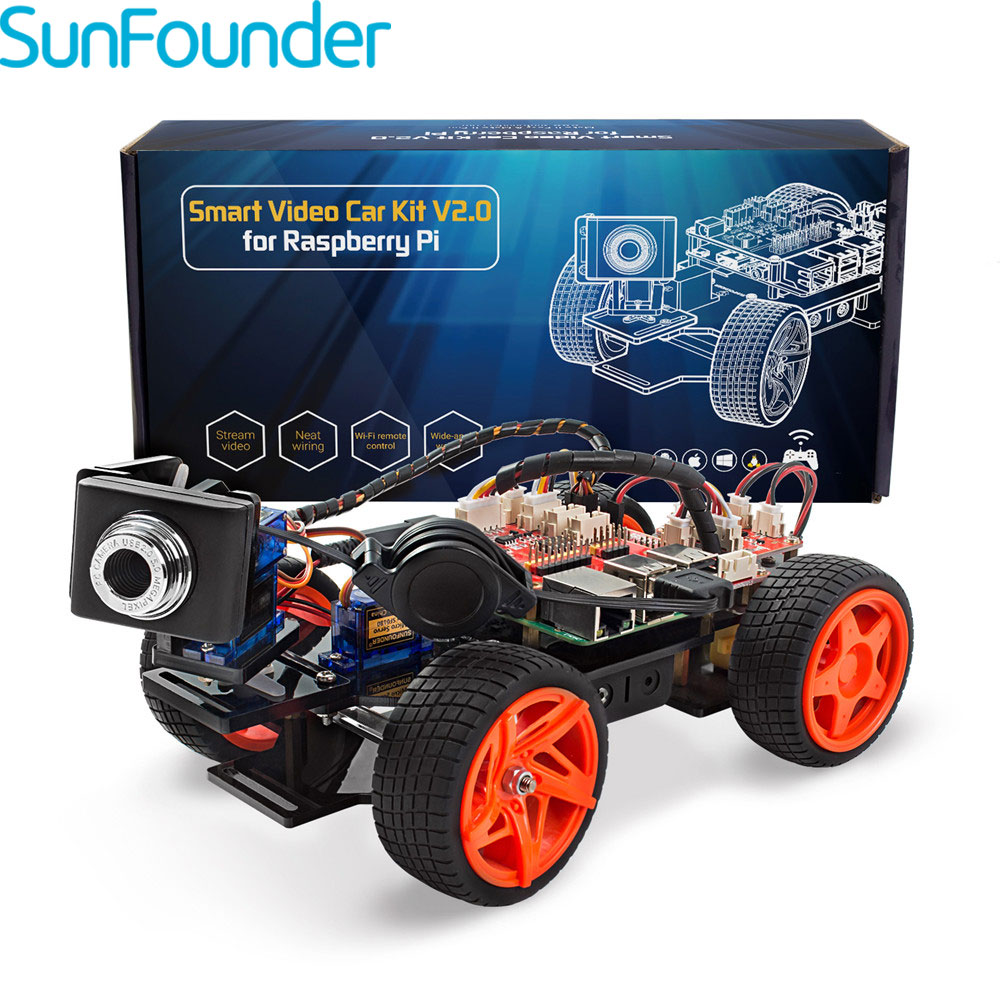 SunFounder Raspberry Pi Smart видео автомобиля KitV2.0 Графический визуального программирования Язык удаленного Управление по UI на Windows/Mac и веб-