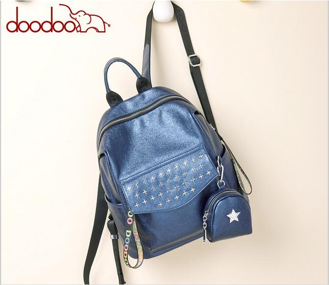 DOODOO 2017 new Korean fashion rivet backpack female backpacks student campus bag travel bags PU leather FR517 new arrival set of four rivet with embossing backpack female rivet woolly bear pendant with fashion backpacks b 40