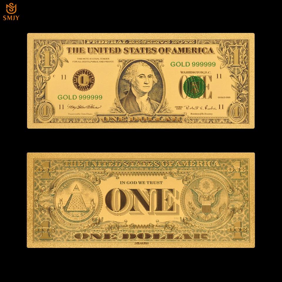 Abd altın banknot 1 dolar para 24K altın plaka banknot toplama ve sahte para kağıt hediye