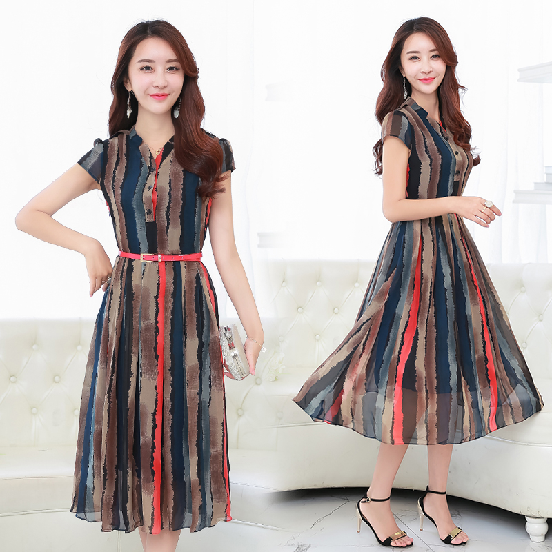 Buy Cheap Free Shipping 2017 New Spring Summer Chiffon Dress Fashionable Long Section Plus Size Slim Short Sleeved Striped Fashion