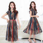Cheap Free Shipping 2017 New Spring Summer Chiffon Dress Fashionable Long Section Plus Size Slim Short Sleeved Striped Fashion