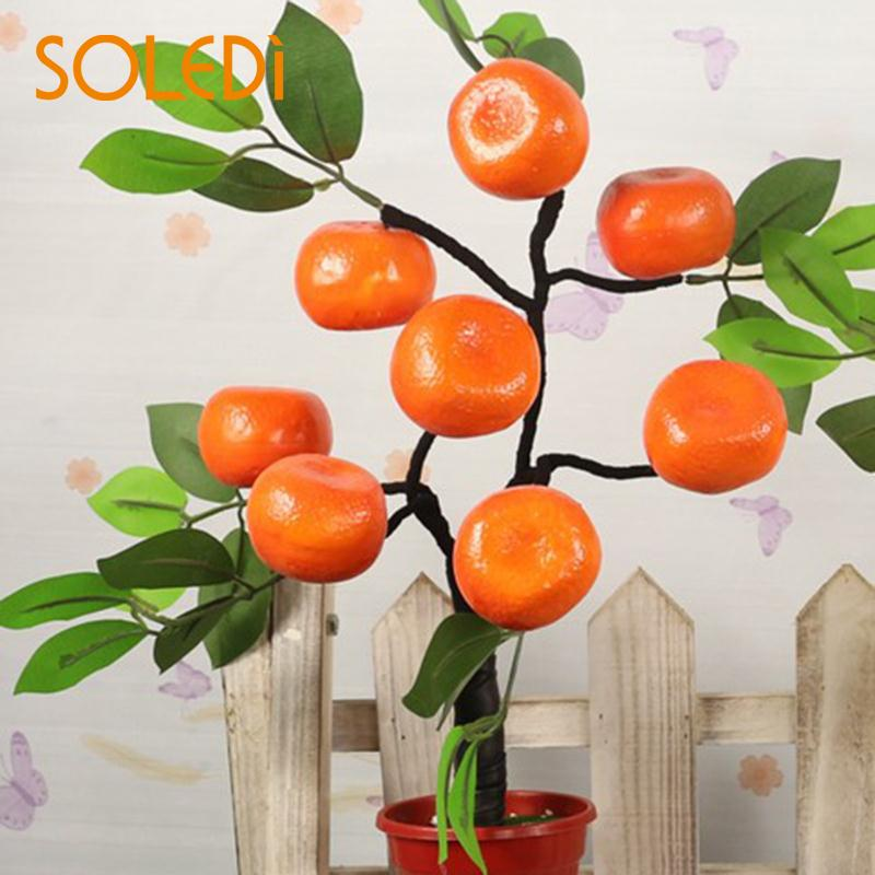 Bonsai Fake Trees Plant Terr Flowers Peach Orange Apple Tabledecoration Falsetree Indoor Simulationflower