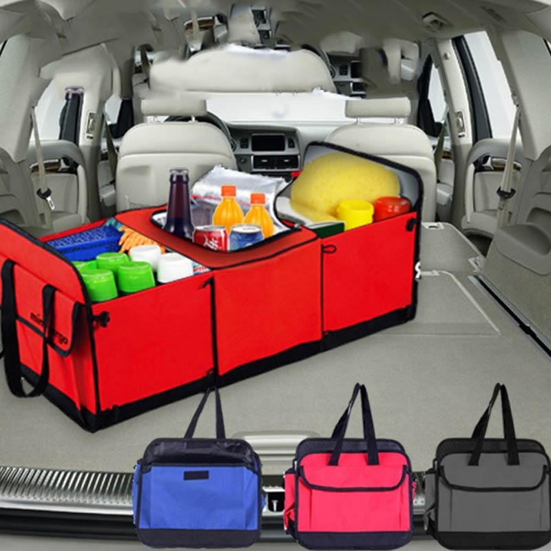 Foldable Multi Compartment Fabric Hippo font b Car b font Truck Van SUV Storage Basket Trunk