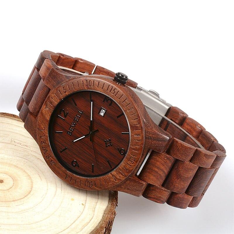BEWELL meeste puidust käekell, kuupäeva näit, 5 erinevat värvivalikut, viisakas karbis. 2