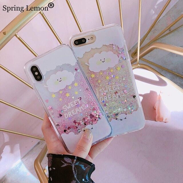 spring lemon sweet dream cloud pentagram glitter pink quicksand liquid silicone case cover for iphone 8