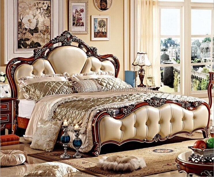 €1079.57 |Moderne De Luxe Royal Style Français King Size Blanc Crème En  Cuir Lit chambre meubles-in Lits from Meubles on AliExpress