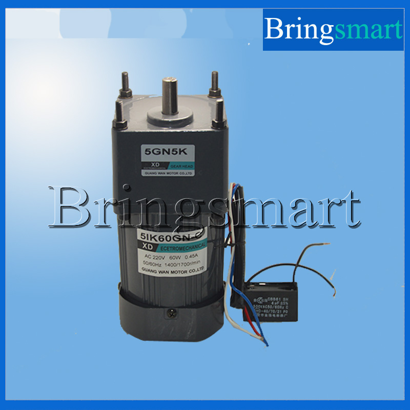 Bringsmart 220V AC Gear Motor Single Phase Motor 60W Fixed Speed  Micro Slow Speed Motor Reversible With Capacitance цена 2017