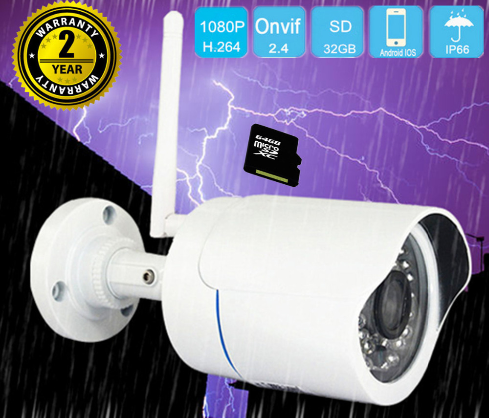 IP camera wi-fi outdoor 1080P HD cctv surveillance wifi wireless home security cameras IP SD Card night vision 2MP bullet wifi camera 1080p full hd wi fi mini bullet ip camera outdoor waterproof surveillance security network wireless cctv camera p2p