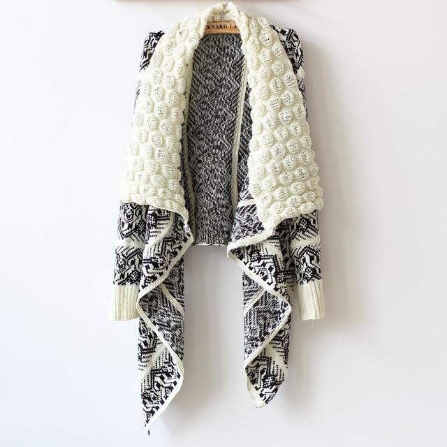 Women Open Chest Sweater Cardigan Black Knitted Jacket Geometric