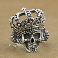 925 Sterling Silver King Skull Crown Mens Biker Rocker Punk Ring 9W003 US Size 8 To