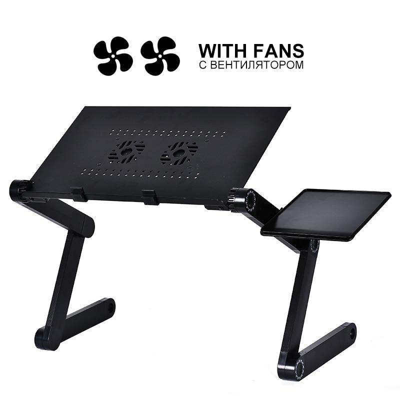 Portable Folding Laptop Table Adjustable Bed Laptop Desk With Cooling Fan 42*26 Cm Laptop Desk Beside Sofa Bed