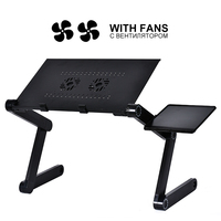 Portable Folding Laptop Table Adjustable Bed Laptop Desk With Cooling Fan 42*26 cm Laptop Desk Beside Sofa Bed