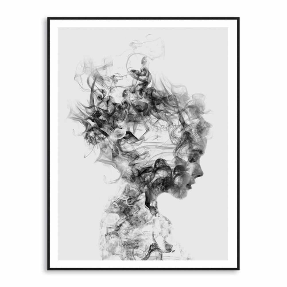 Modern Abstract Wall Art Home Decor Black White Woman Canvas Print Art Painting Wall Pictures For Living Room  posters and print