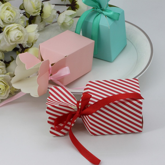 Candy Box Bag Chocolate Cookie Paper Gift Package For Birthday Wedding Party Favor Decor Supplies DIY Flower Design Wh