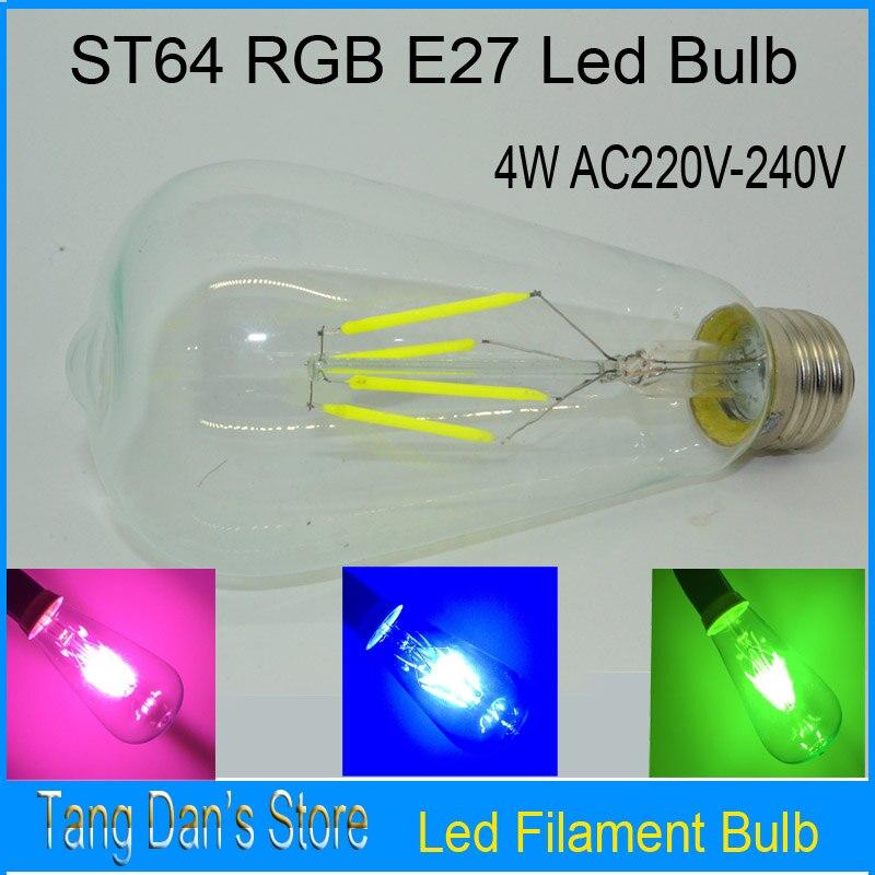 E27 LED RVB AC220V 4 w ST64 Edison Ampoules Lampada Transparent Verre à économie d'énergie Ampoules Rétro Led Lampe À Incandescence ampoule