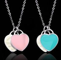 925 Sterling Silver Double Heart Pendant Necklace Blue Pink Enamel Chain Clavicle Necklace Best Gift for Women Girl Short Choker
