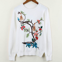Women Sweaters And Pullovers Autumn Winter Long Sleeve Tree Monkey Embroiery Patterns White Color Women Casual