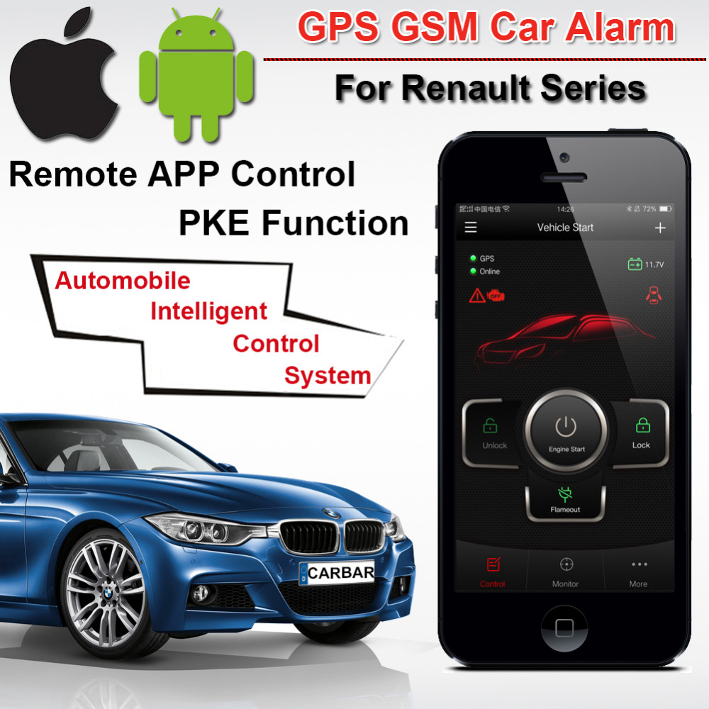 Top Quality PKE GSM GPS Car Alarm for Renault Series Start Stop Push Button Keyless Go System GPS Tracker History CARBAR easyguard pke car alarm system remote engine start stop shock sensor push button start stop window rise up automatically
