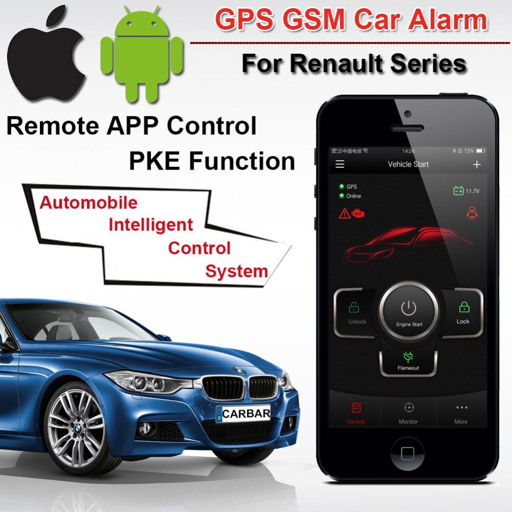 Top qualité PKE GSM GPS alarme de voiture pour Renault série démarrage arrêt bouton poussoir sans clé aller système GPS Tracker histoire CARBAR