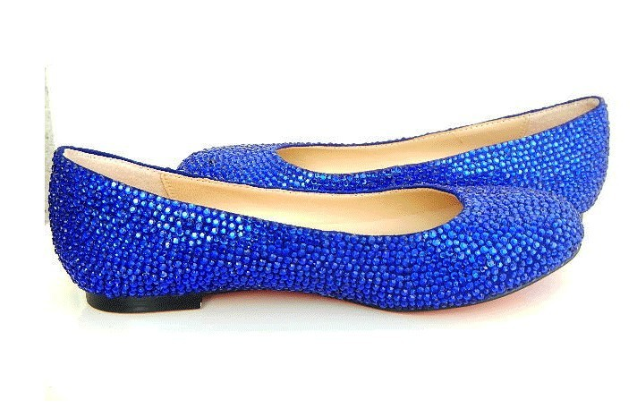 Royal Blue Crystal Flat Shoes, Blue Wedding Flats, Dark Blue Bridal Flats  Ballet Flats Crystal Bling Shoes Bridesmaid Flat Shoe In Womenu0027s Flats From  Shoes ...